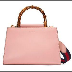 GUCCI Calfskin Mini Nymphaea Top Handle Bag Pink
